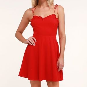 Celebration Red Ruffled Skater Dress